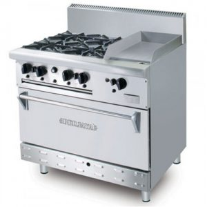 Stainless Steel Combination Open Burner Griddle With Oven